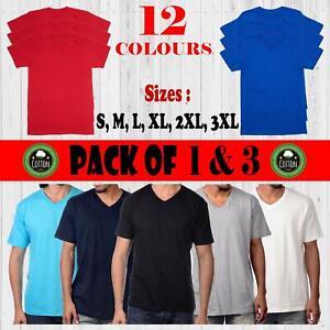 Men's 1, 3 PACK Plain V-NECK T-shirt 100% Cotton Top T-Shirts Tee Basic 150gsm