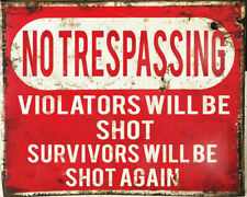 No Trespassing Shot Gun Warning VINTAGE ENAMEL STYLE METAL TIN SIGN WALL PLAQUE