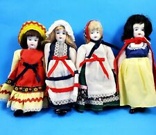 "Antique Bisque~Lot of 4 Porcelain Dolls- 7 3/4"" Tall."