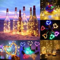 20/50 LED Wine Bottle Fairy String Light Cork Starry Night Lamp Xmas Wedding US