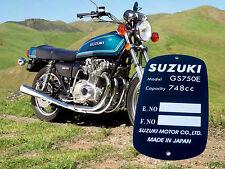 SUZUKI GS750 GS750E Data PLATE Typenschild ALU Anodised Engraving rivets