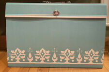 Vintage Portable File Box With Handle Turquoise Floral Coated Hardboard 18 Pockets