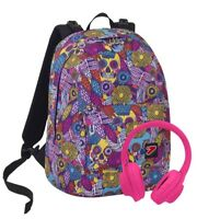 ZAINO SCUOLA REVERSIBILE SEVEN THE DOUBLE SKULL GIRL CUFFIE INCLUSE