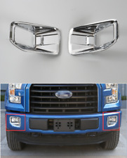Silver ABS Front Fog Light Lamp Frame Cover Trim For Ford F150 F-150 2015-2018