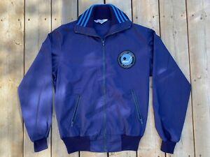 VTG RARE 1970's Hockey Night In Canada Blue Adidas Crew Jacket! Size Large! CBC!