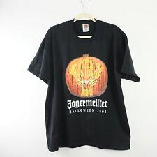 Jagermeister T Shirt Mens XL Black Orange Retro Alcohol 2001 Halloween Pumpkin