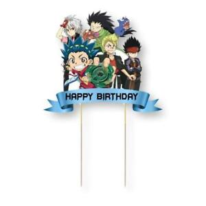 Beyblade Card Cake Topper Kids Birthday Party Decoration Image