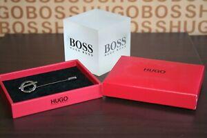 New Hugo Boss silver designer wedding corsage brooch mens suit tie pin lapel pin