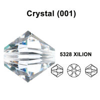 CRYSTAL (001) clear Genuine Swarovski 5328 XILION Bicone Beads *All Sizes