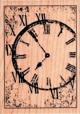 Hampton Art ~ VINTAGE CLOCK ~ Wood Mounted Rubber Stamp Distressed