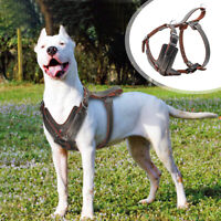 Genuine Leather Large Dog Harness Dog Training Vest With Quick Control Handle