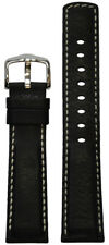 24mm Hirsch 'Mariner' Black Calf Leather Watch Band 24/22 120/80