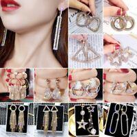 Fashion Heart Full Crystal Zircon Women Round Earrings Dangle Ear Drop Jewelry