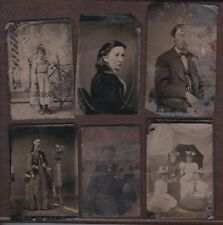 6-Piece Collection, Various Subjects 19th Century Tintype Photographs