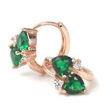 Women's Rose Gold Plated Green Crystal Huggie earrings