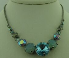 Sorrelli Teal Textile Necklace NCQ14ASTT Antique silver tone