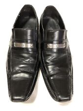 ROCK & REPUBLIC Black Leather Loafers Slip On Dress Shoes Mens Size 11 M Silver