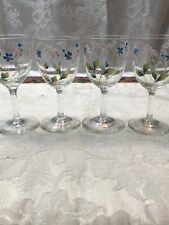 Hand Painted Floral Crystal Cordial Glasses Set of 4 Euc