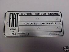 FIAT Deep Acid Etched aluminum Data Plate 4 Vintage Cars Motor - Chassis