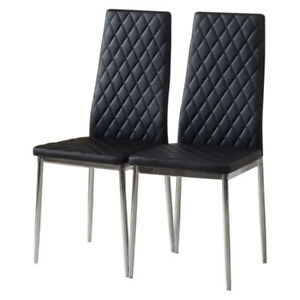 2/4pcs Faux Leather Dining Chairs Metal Legs High Back Kitchen Dinning Room UK