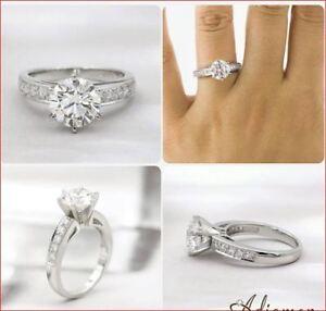 2Ct White Round Moissanite Channel Set Wedding Engagement Ring 14k white Gold