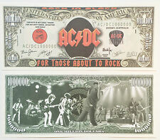 "RARE: AC/DC ""We Salute You"" $1 Million Novelty Note, Music. Buy 5 Get one FREE"