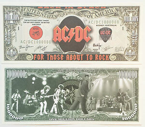 """RARE: AC/DC """"We Salute You"""" $1 Million Novelty Note, Music. Buy 5 Get one FREE"""