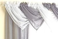 GLITTERY SILVER THREAD THICK VOILE NET CURTAIN SWAG/S WITH GEM STONE 3 COLOURS