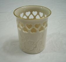Lenox China Heart Collection Pierced Vase With 24K Gold Trim & Embossed Flower