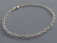 "Italian Sterling Silver-11""- Ankle Bracelet- Faceted Rolo Open Link- Italy 925"