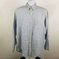 Brooks Brothers 1818 Irish Linen Mens Striped L/S Dress Button Shirt Sz Medium M