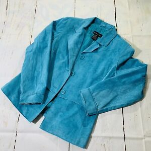 Suedessence Turquoise Suede Leather Lined  Cropped Jacket SZ M Machine Washable