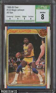 1988-89 Fleer Basketball All-Star #123 Magic Johnson Lakers HOF CSG 8 w/ 9