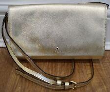 KATE SPADE Gold Metallic Leather Detachable Shoulder Strap / Clutch Bag NEW!
