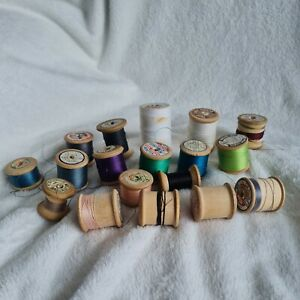 Vintage Wooden Cotton Reels Thread Spools Job Lot Sylco 18 Mixed Linen Silk [A]