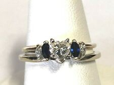 MARQUISE SAPPHIRE & DIAMOND 14KT WHITE GOLD RING WRAP JACKET ENHANCER