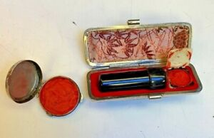 Art Deco~Flapper~Lizard case~Lip stain~REAL horn applicator~dabber+Rouge compact