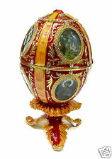Catholic Red Faberge Egg Trinket Jewelry Box Holy Saints Rosary Relic Keepsake