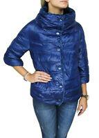 Giubbotto piumino donna blu casual giacca giubbino invernale con pelliccia
