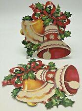 Vintage Christmas Decoration Bells Die Cut Glitter