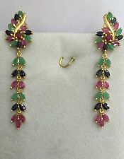Earring Natural Mix Ruby Sapphire Emerald5.60G 14k Solid Gold Dangle French Clip