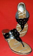 Sam & Libby Women's Slide Toe Post Wedge Sandals 8M Black Perforated Straps Cork