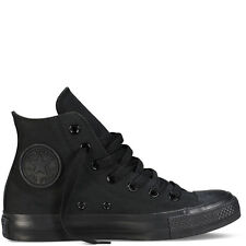 CONVERSE ALL STAR ALTE MONOCROME TOTAL BLACK TUTTE NERE DONNA UOMO