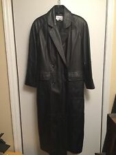 Mens Womens Black Leather Duster Trench Coat Full Length