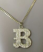 9ct Gold Necklace -  9ct Yellow Gold letter 'B' Pendant & 9ct Yellow Gold Chain