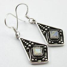 Artisan ! 925 Pure Silver Fancy Blue Fire Rainbow Moonstone Art Earrings 4.0 Cm