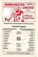 1976/7 Man Utd v Sheff Wednesday Reserve Programme