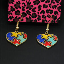 Puzzle Heart Crystal Women Stand Earrings New Betsey Johnson Color Enamel Map