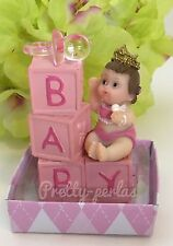 1PC Baby Shower Party Favors Cake Topper Decorations Figurines Blocks Pink Girl