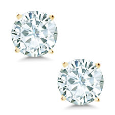 Timeless Brilliant® 3.80ct DEW Round Moissanite Stud Earrings in 14K Yellow Gold